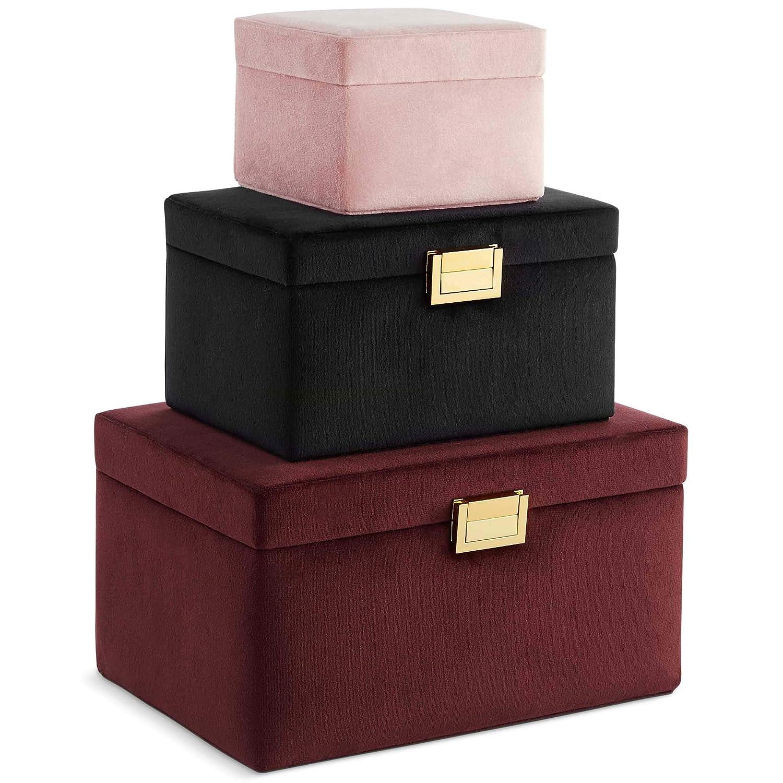Beautify Juego de 3 Cajas Joyeros de Terciopelo - Estuches apilables Organizadores de Almacenamiento de Joyería - Borgoña, Negro y Rosa