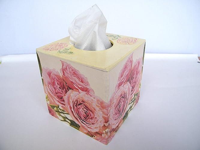 Caja de toallitas faiciales de Kristan Art comerciales Caja de Pañuelos Rosas Servilletas Papel Cubo Rubic