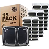 Freshware Meal Prep Containers [15 Pack] 2 Compartment with Lids, Food Storage Containers, Bento Box, BPA Free, Stackable, Mi