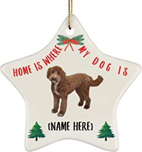 Lovesout Personalized Name Goldendoodle Chestnut Home is Where My Dog is Christmas Star Ornament