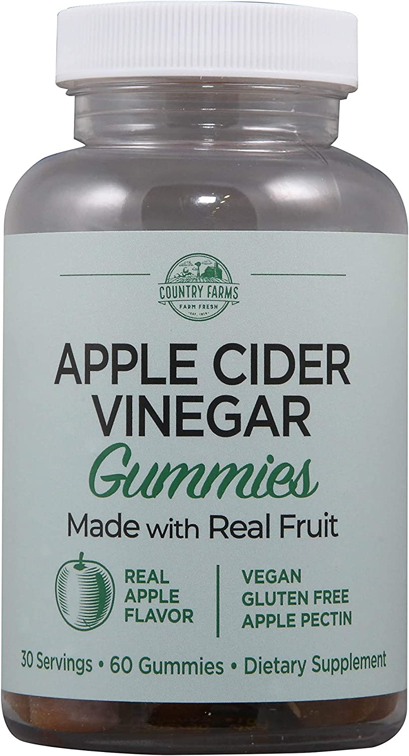 Country Farms Apple Cider Vinegar Gummies, Dietary Supplement, 30 Servings, 60 Count