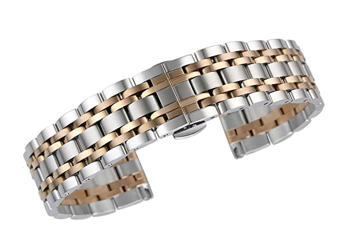d20cd474ced 13mm luxury refined stainless steel watch straps for women in two tone  silver and rose gold straight end  Amazon.co.uk  Watches