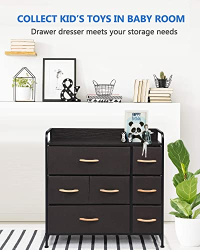 7 Drawer Dresser Storage Organizer Fabric Drawer Tower Unit