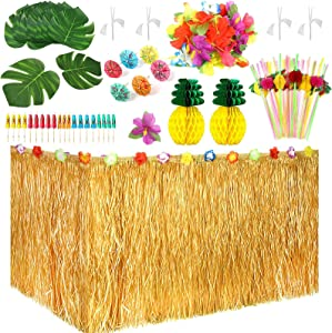 103 Pieces Hawaiian Tropical Party Decorations Set with 9feet Hawaiian Table Skirt,Hibiscus Flowers, Palm Leaves, Paper Pineapple, Umbrella Food Toppers and 3D Fruit Straws for Luau Party Decorations