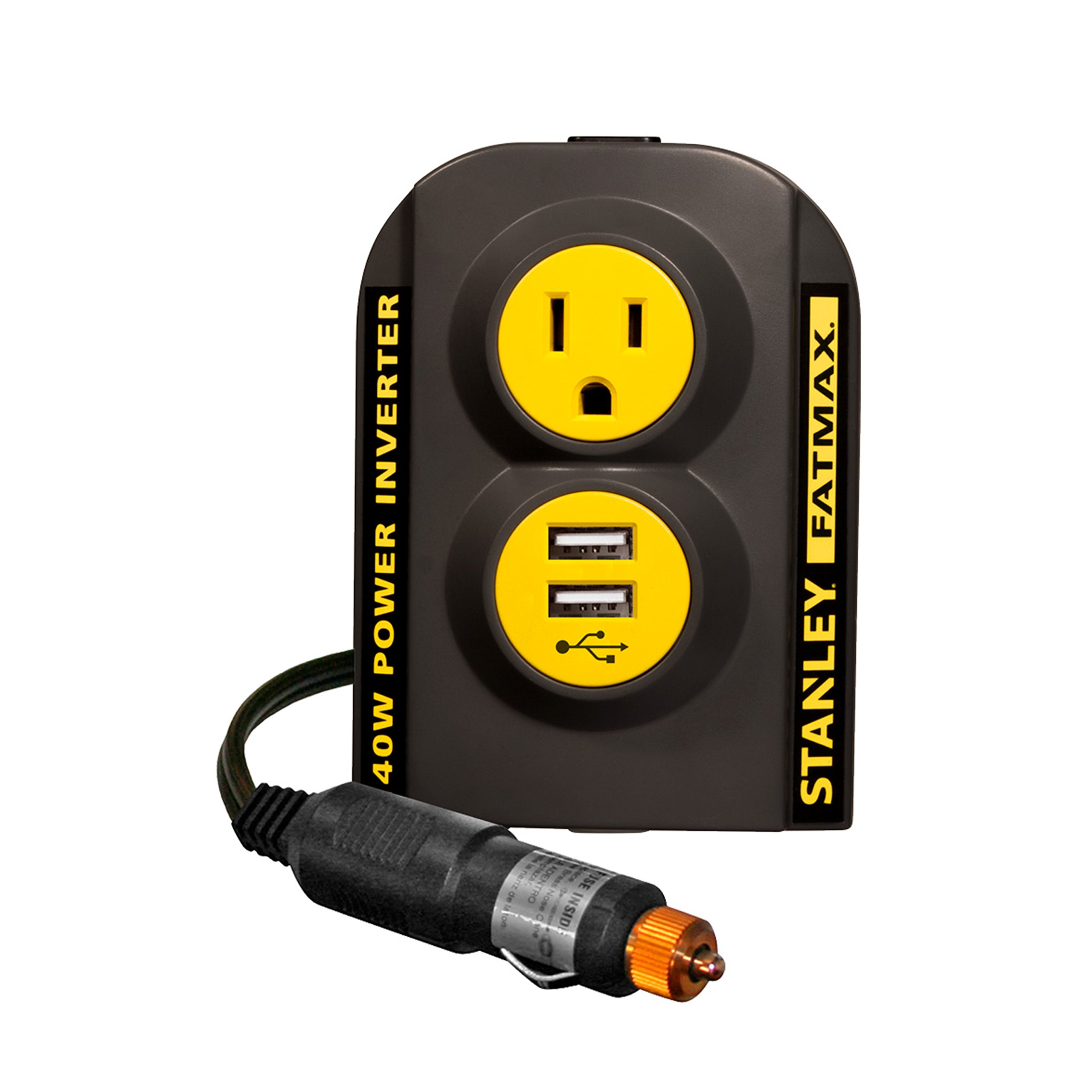 STANLEY FATMAX PCI140 140W Power Inverter: 12V DC to 120V AC Power Outlet with Dual USB Ports by STANLEY
