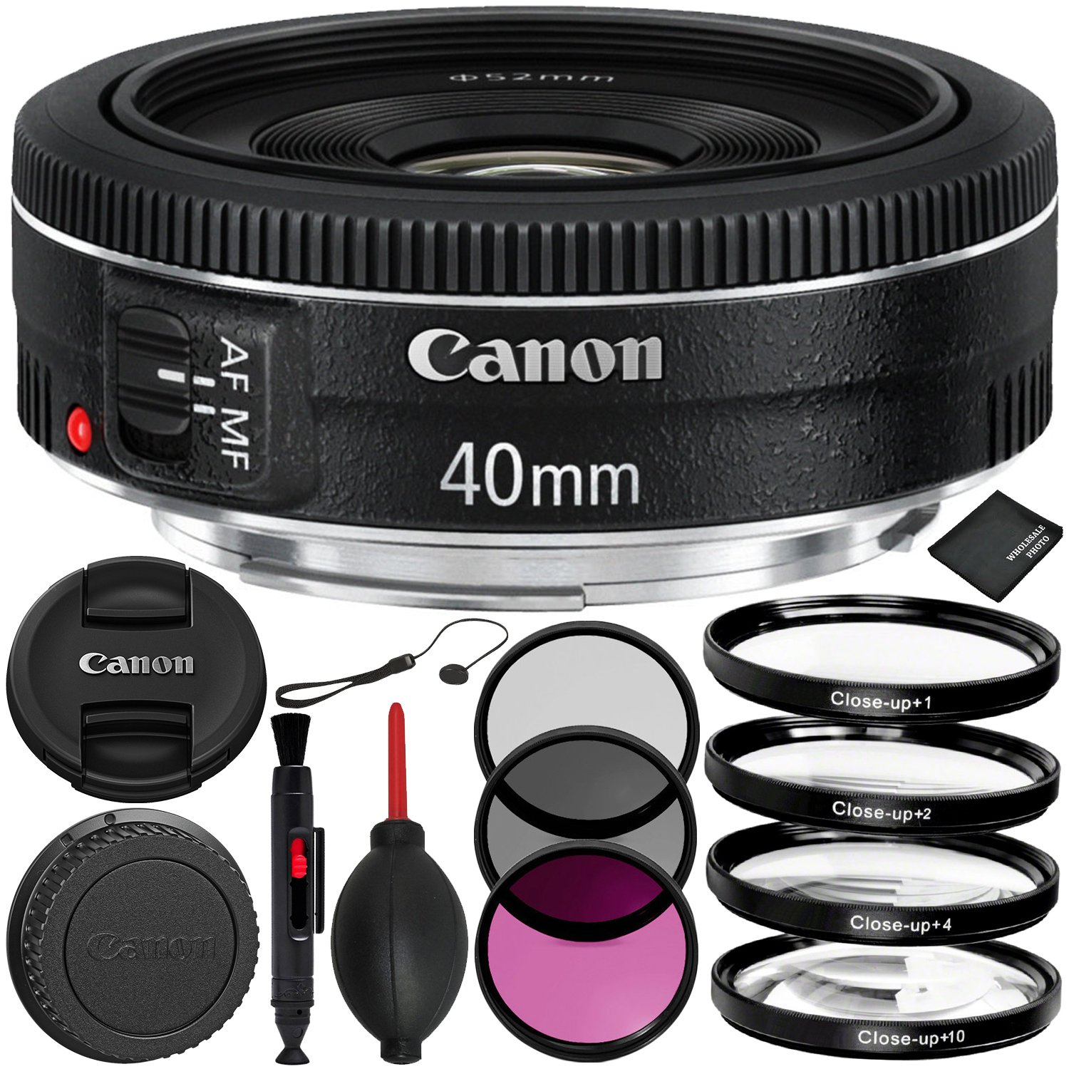 Canon EF 40mm f/2.8 STM Lens - 6PC Accessory Bundle Includes 3 Piece Filter Kit (UV, CPL, FLD) + 4 Piece Macro Filter Set (+1, +2, +4, +10) + Dust Blower + Lens Cap Keeper + MORE