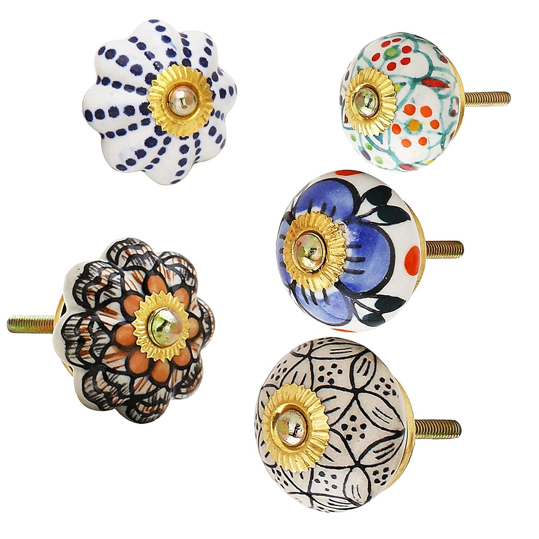 RAJRANG BRINGING RAJASTHAN TO YOU Tiradores de Muebles Ceramic Drawer Knobs Manija de la Puerta Hecha a Mano Manija Azul Ceramica Flor Cocina Armario Hardware Conjunto de 25