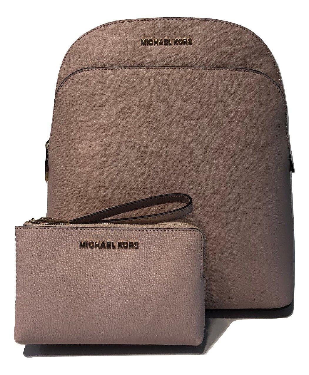 MICHAEL Michael Kors Emmy Large Backpack bundled with Michael Kors Jet Set Travel Double Zip Wallet Wristlet (Blossom)