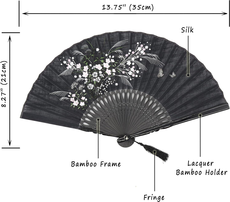 /chino//japon/és Vintage Retro Estilo/ omytea grassflower plegable Mano Ventilador para las mujeres/ gris /con una funda de tela para protecci/ón