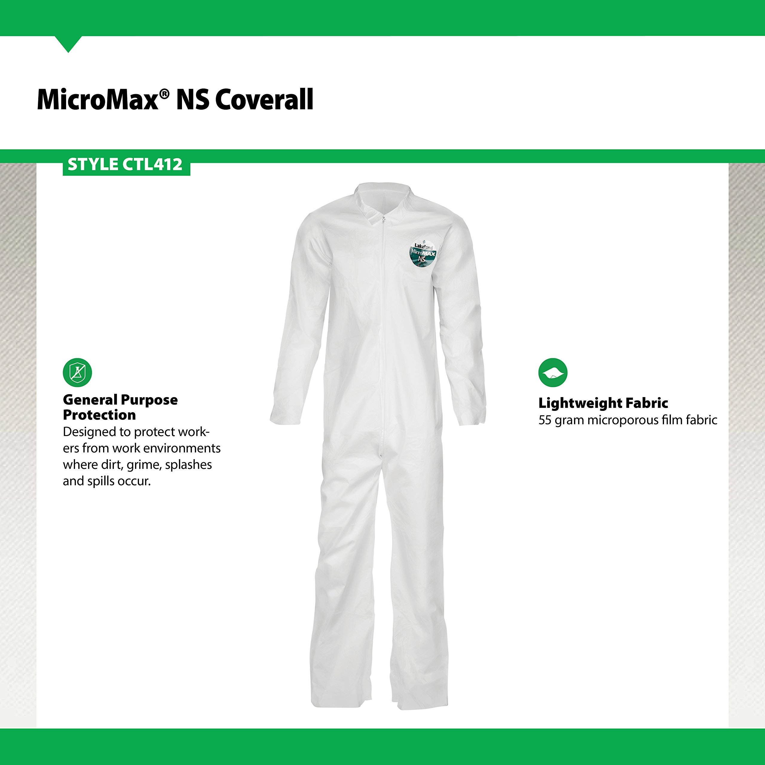 Lakeland MicroMax NS Microporous General Purpose Coverall, Open Cuff, 2X-Large, White (Case of 25) by Lakeland Industries Inc (Image #3)