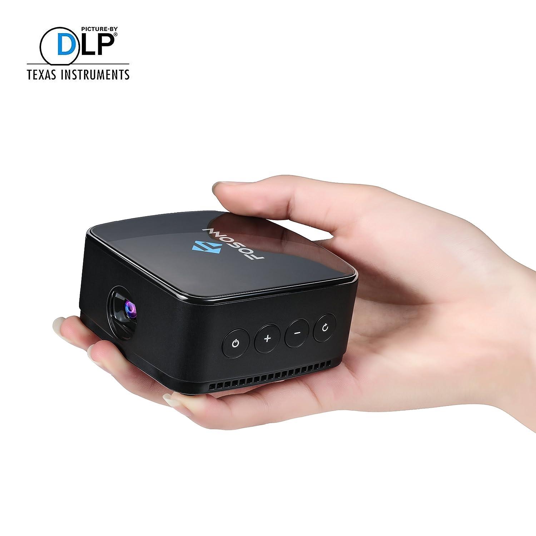 FOSONN モバイル DLPプロジェクター 日本語説明書付き ワイヤレス接続 DLNA/Miracast/Airplay/対応 バッテリースピーカー内蔵 PSE&TELEC認証済み ブラック B06XDRB9KH  ブラック