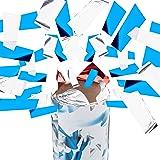 10er Set Party Popper 40 cm, Blau Silber, 6-8m Effekthöhe, Hochzeit, Geburtstag, Karneval, bunter Konfettiregen, blau