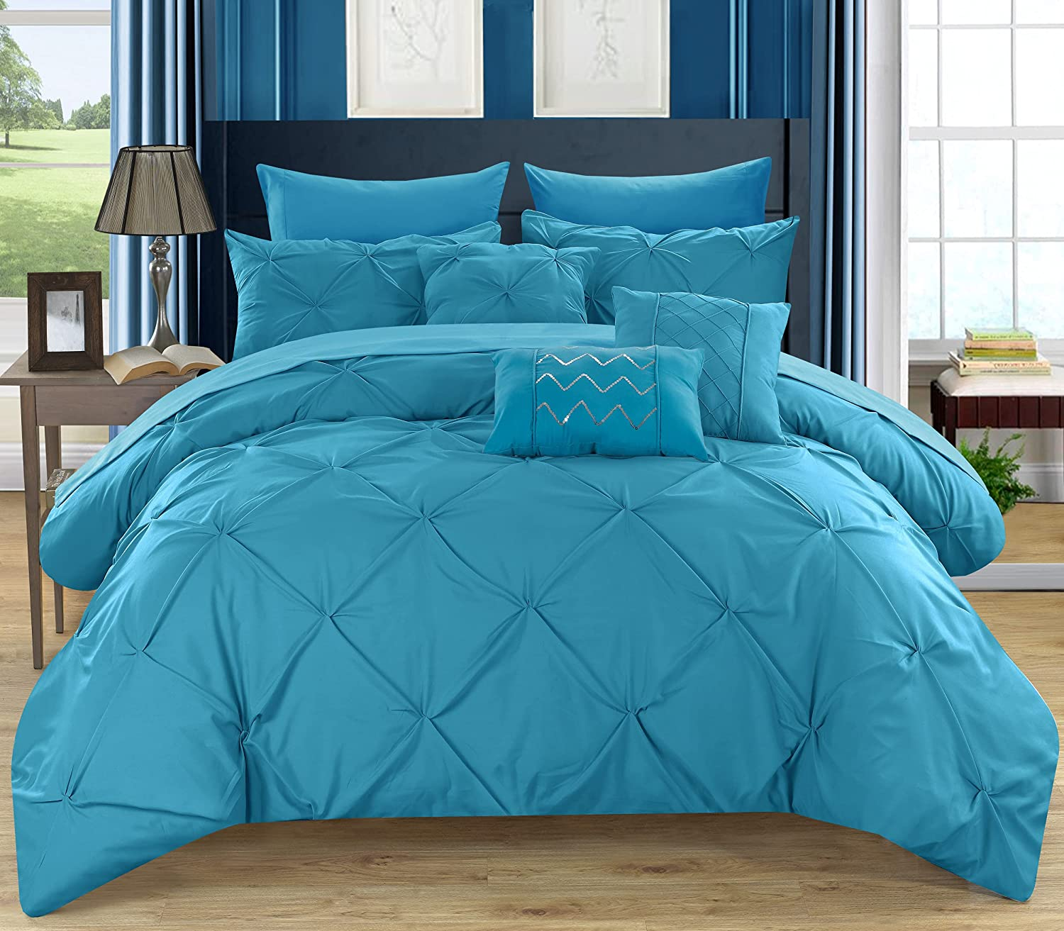 Chic Home 8 Piece Hannah Pinch, Ruffled and Pleated Complete Twin Bed in a Bag Comforter Turquoise Sheets Set and Deocrative Pillows Included