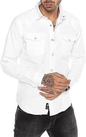 Camisa de Jeans Vaquera Denim para Hombre Manga Larga Blanca