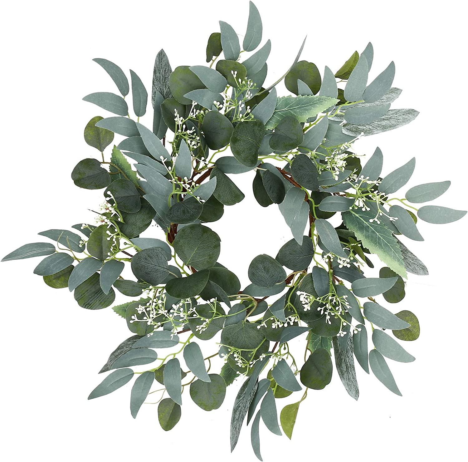 Artificial Green Eucalyptus Wreath,15 inches Greenery Wreath with Clusters of White Flowers Mini Spring/Summer Wreath for Front Door Wall Window Decor
