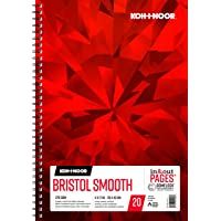 """Koh-I-Noor Bristol Smooth Bright White Paper Pad with in and Out Pages, 270 GSM, 11 x 17"""", Side Wire-Bound, 20 Sheets per Pad (26170411513)"""