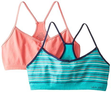 06cae61bc9 Calvin Klein Big Girls  2 Pack Seamless Crop Bras  Amazon.in ...