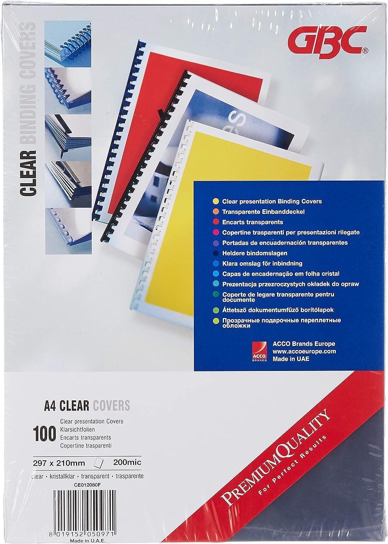 GBC CE012080F HiClear - Tapas transparentes para encuadernar, 100 unidades A4, PVC, 200 my: Amazon.es: Oficina y papelería