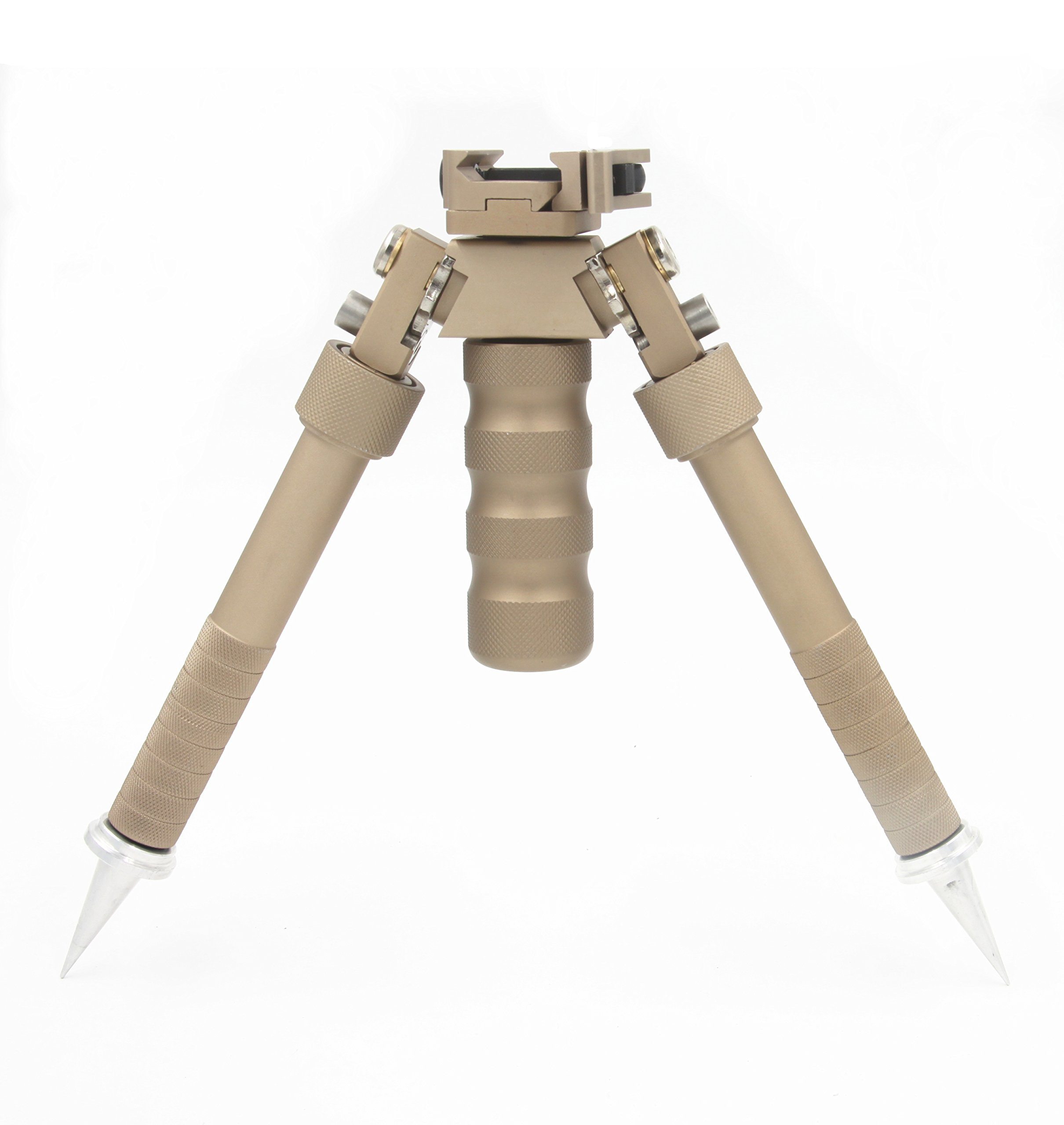 JINSE Bipod Picatinny Rail Quick Release Folding Swivel Adjustable 6.5-9 Inches with Spikes (Brown)