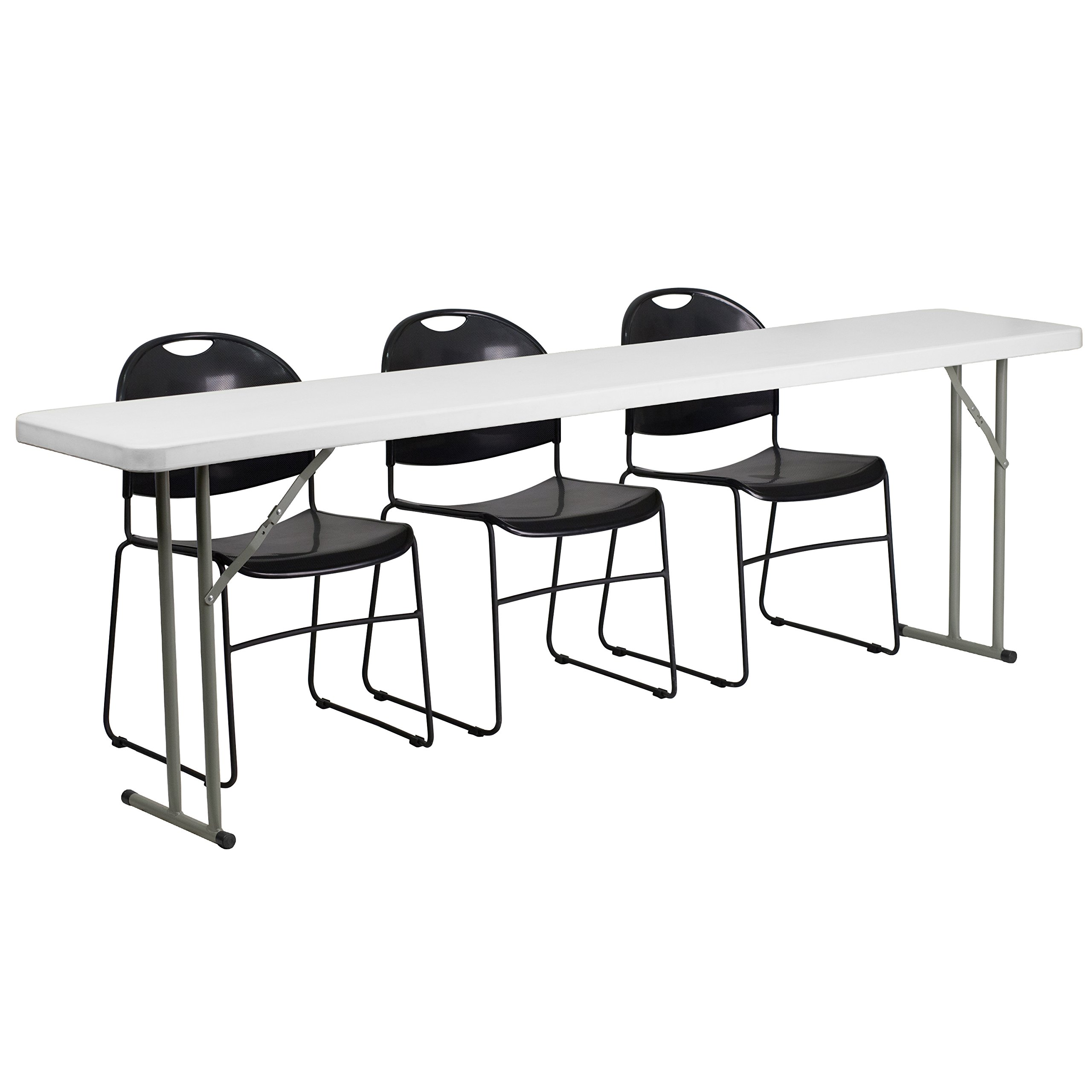 Flash Furniture 18'' x 96'' Plastic Folding Training Table Set with 3 Black Plastic Stack Chairs