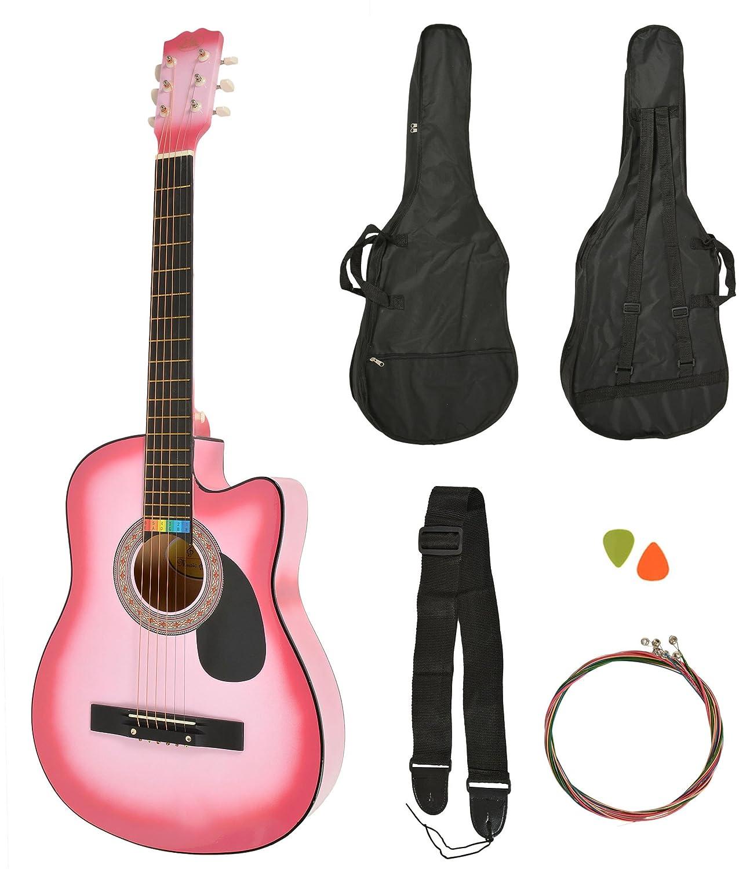 Akustik Western Gitarre Natur + Gitarrentasche + Gurt + Saiten ts-ideen 5358