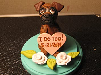English Bulldog Wedding Cake Topper Clay Sculpted P00001 Hand Painted Cat Figurine Table Reception Decoration