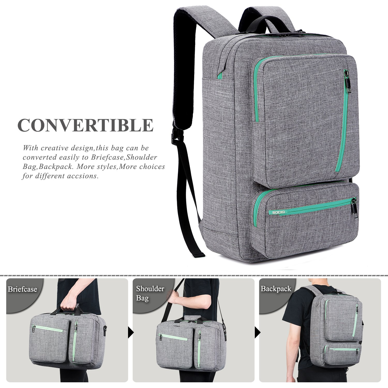 cff1a2583fc7 SOCKO Convertible Laptop Backpack Canvas Messenger Bag Shoulder Briefcase  Multifunctional Travel Rucksack Hiking Knapsack College School