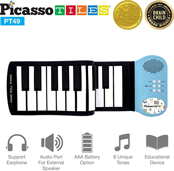 PicassoTiles PT49 Portable Kid's 49-Key Flexible Roll Up Educational Electronic Digital Music Piano Keyboard w/Recording Feature