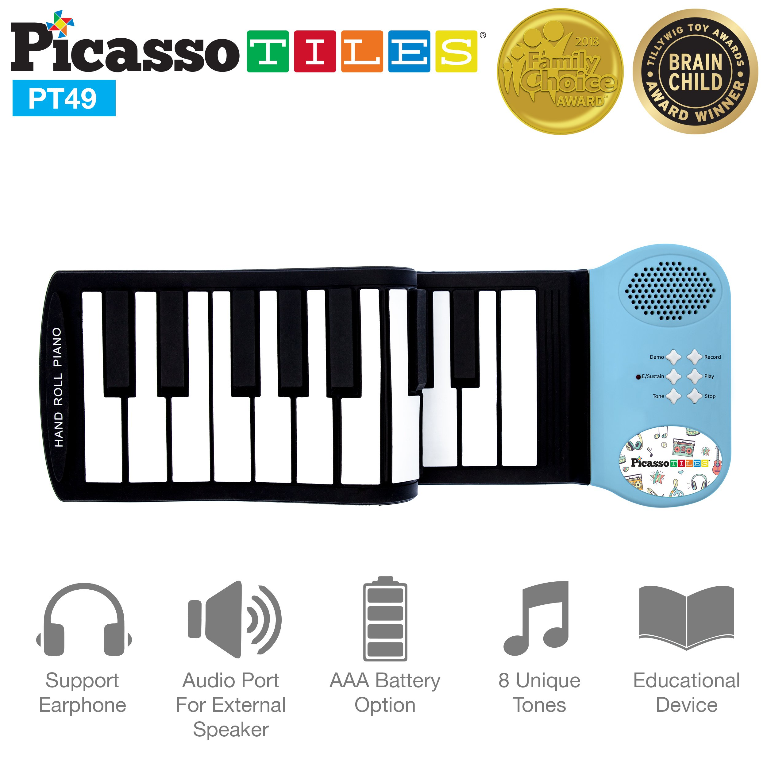 PicassoTiles PT49 Portable Kid's 49-Key Flexible Roll Up Educational Electronic Digital Music Piano Keyboard w/Recording Feature, 8 Different Tones, 6 Educational Demo Songs & Build-in Speaker - Blue