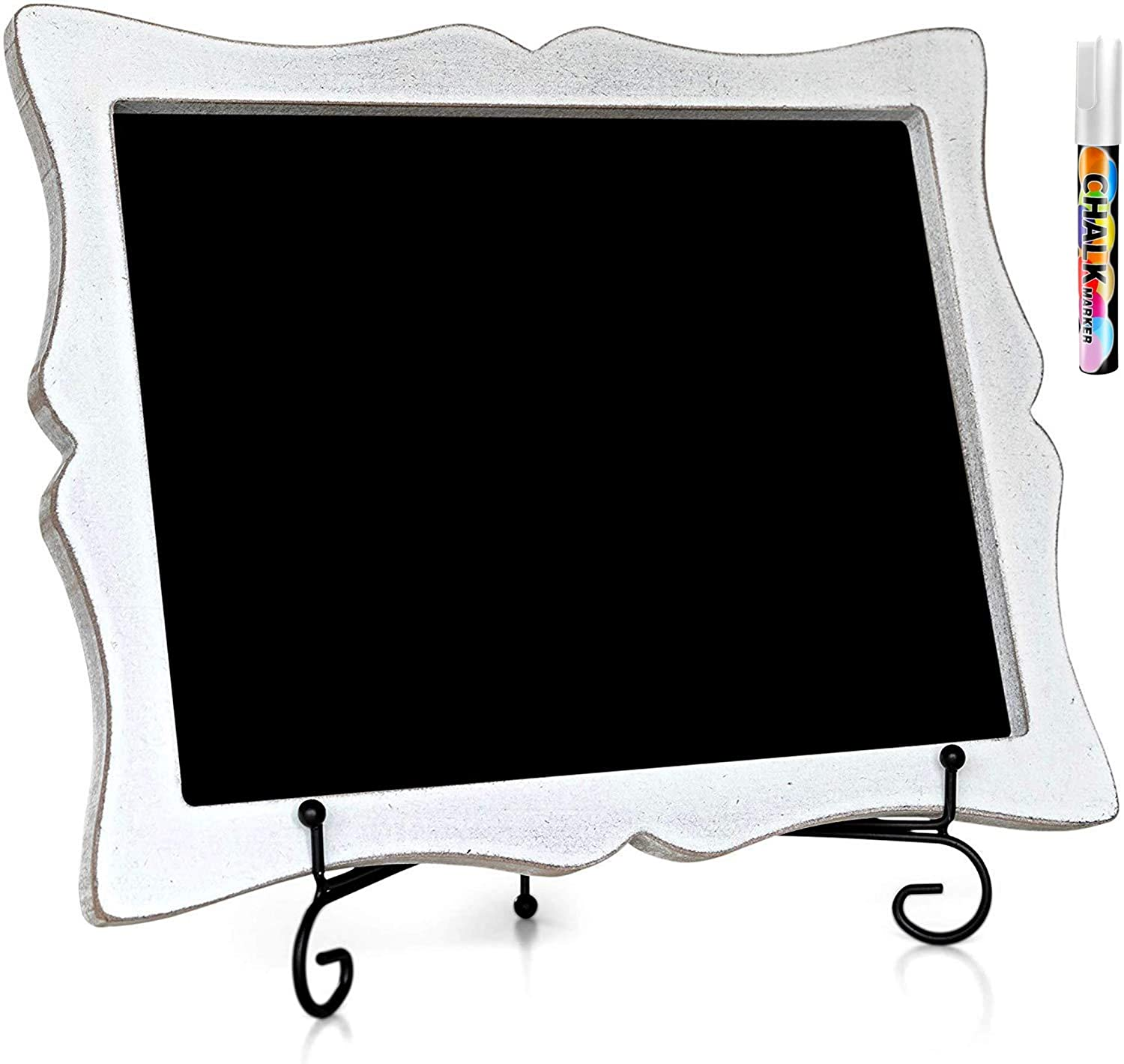"""11""""x13"""" Chalkboard Sign with Easel (Rustic White) + White Liquid Chalk Marker 