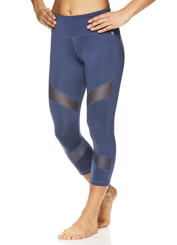 Nicole Miller Active Womens Persephone Printed Capri Leggings Performance Activewear Workout Pants
