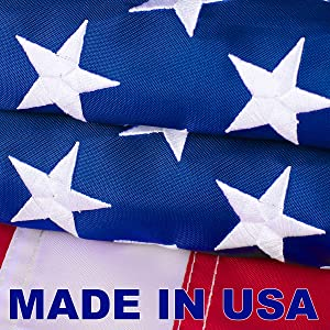 VIPPER American Flag 4x6 FT Outdoor - Made in USA Heavy Duty Nylon Us Flags with Embroidered Stars, Sewn Stripes and Brass Grommets