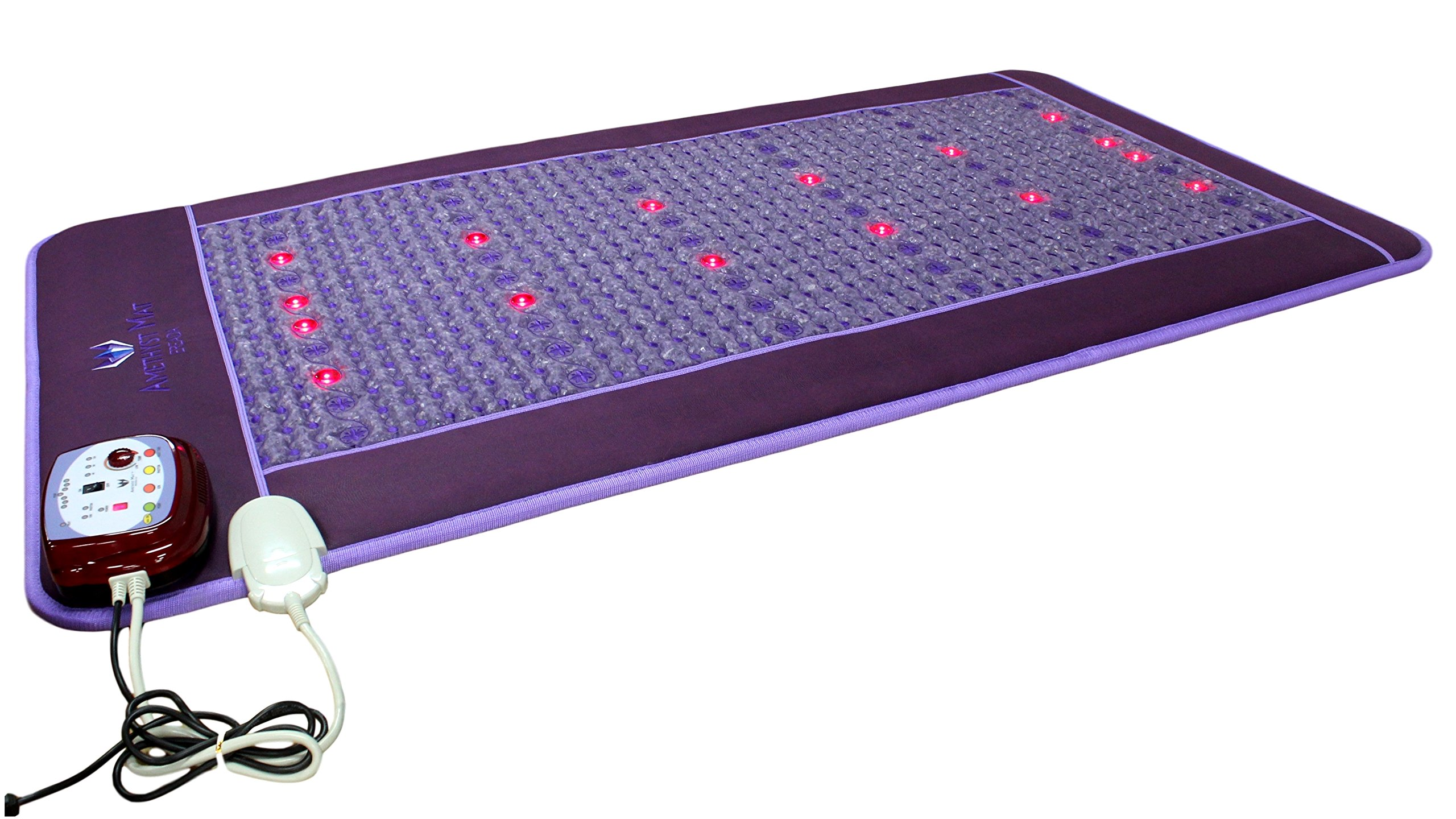 Far Infrared Amethyst Mat - FIR Heat - Bio Magnetic Field - PEMF - Negative Ions - Red Light Photon Therapy - Natural Amethyst - FDA Registered Korean Manufacturer - Purple (Single (XL) 75''L x 39''W)