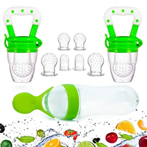 Gedebey Baby Food Feeder, Pacifier Fruit- Fresh Silicone Bottle Squeeze Spoon Frozen Fruit Teething Pacifiers Nibbler Hygienic Cover Newborn Teeth with Meshes Sizes for Baby Food Spoon (Green)