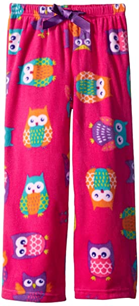 Komar Kids Big Girls Girls Micro Fleece Pant Owl Print, Pink, X-