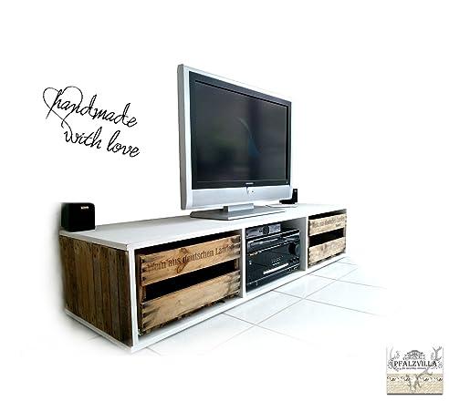 Fernsehschrank aus weinkisten  Amazon.de: PFALZVILLA Kleinserien TV BOARD weiß aus Weinkisten 160cm