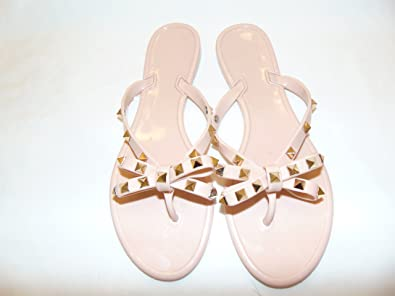 a4515369fc13cc Image Unavailable. Image not available for. Color  Jessie Stone Rivets Big  Bow Knot Flat Jelly FLIP Flop Sandals. Nude