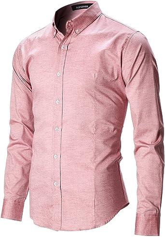 FLATSEVEN Camisas Slim Fit Casual Oxford con Botones Manga Larga Hombre (SH611) Rosa, S: Amazon.es: Ropa y accesorios