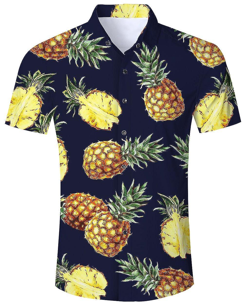 Goodstoworld Camicia Hawaiana da Uomo Estiva Fiori Tropicale 3D Stampa Manica Corta Casual Camicie Shirt MNLGS18525