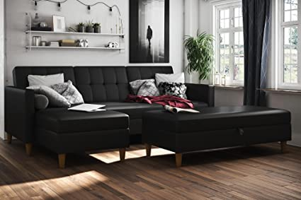 Wondrous Dhp Hartford Storage Sectional Futon With Interchangeable Chaise And Storage Ottoman Space Saving Design Opens To Queen Bed Wooden Legs Black Faux Lamtechconsult Wood Chair Design Ideas Lamtechconsultcom