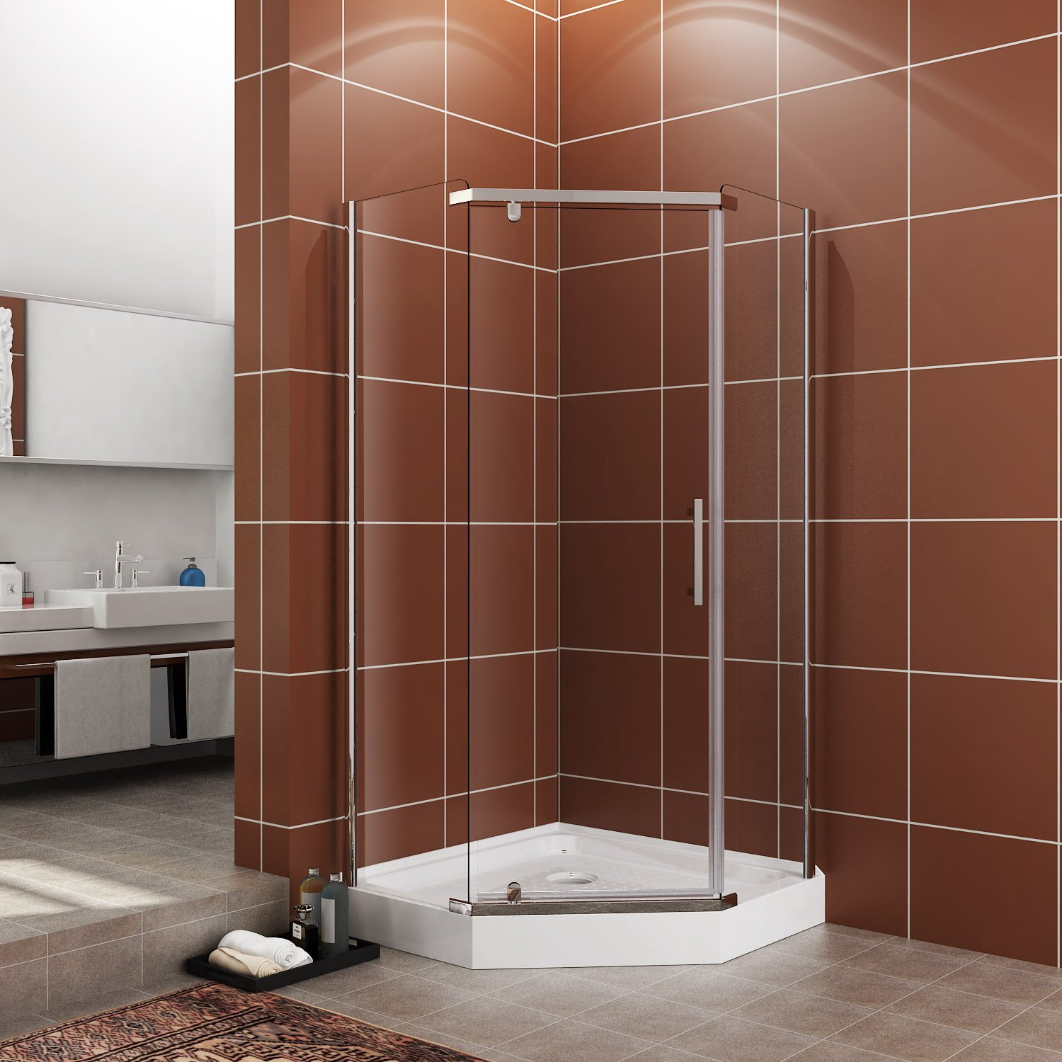 SUNNY SHOWER A33, Semi-frameless Neo-Angle Corner Shower Doors, Fit to 36 3/5'' W x 36 3/5'' D x 71 4/5'' H, 1/4'' Clear Glass, Chrome Finish- Back-wall & Shower Base Sold Separately by SUNNY SHOWER (Image #1)