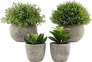 4 Pack Mini Potted Artificial Plants, Faux Greenery Plastic Eucalyptus Plants Artificial Succulent Plants, for Home Garden Office Desk Shower Room Decoration