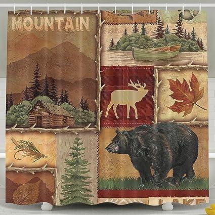 ZHYPMNU 60 X 72 Inch Shower CurtainRustic Lodge Bear Moose Deer Polyester Waterproof Bath