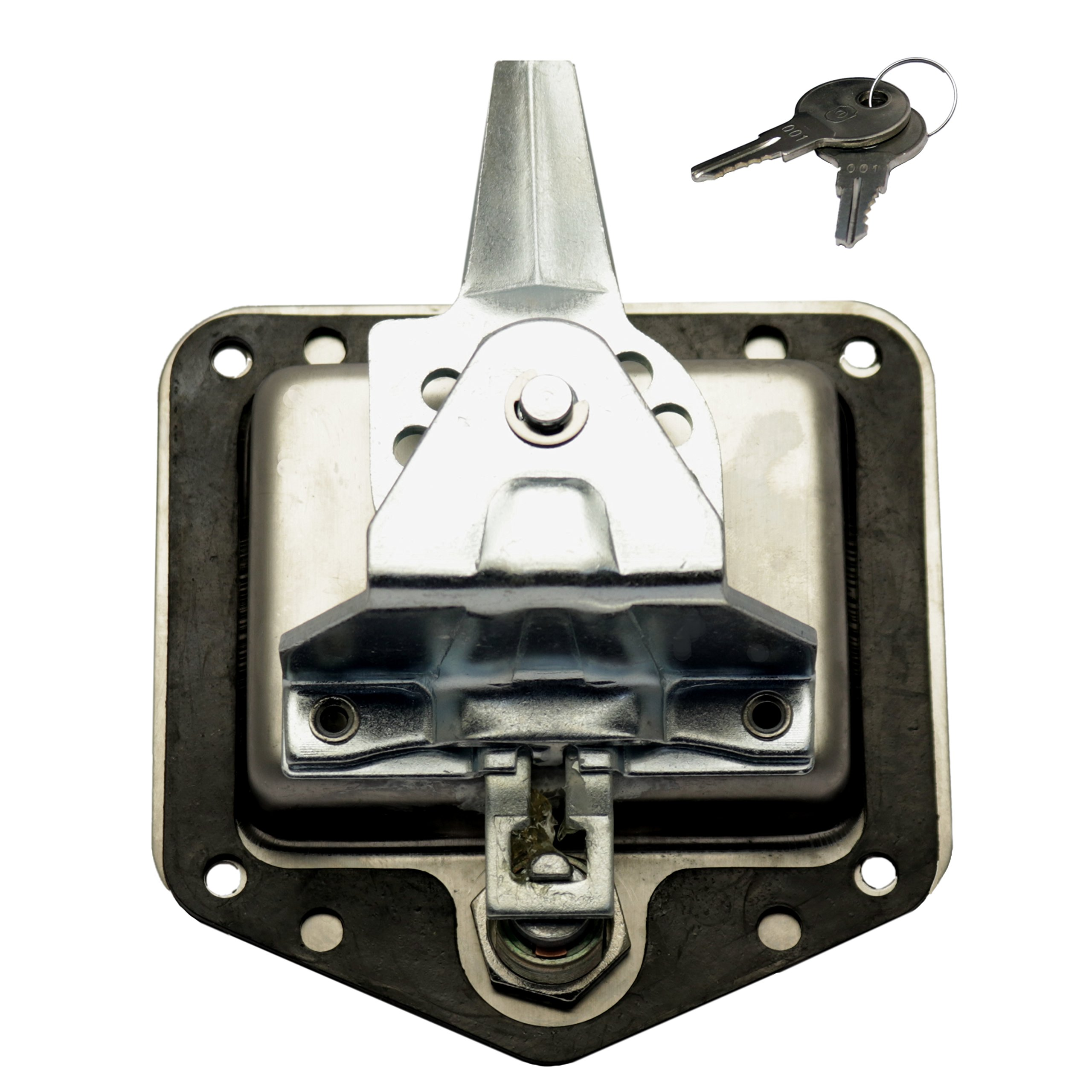 TCH Hardware Stainless Steel T-Handle Latch with Mounting Holes & Lock Dust Cover - Folding T Handle Latch Jeep Truck Trailer by TCH (Image #2)