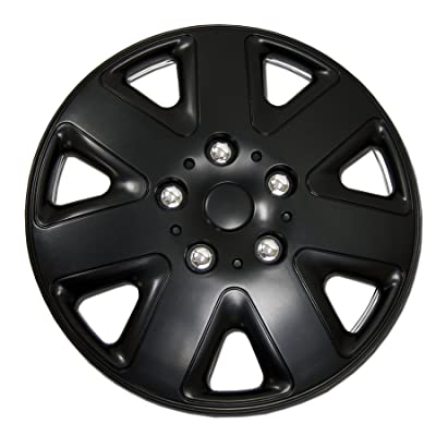 TuningPros WC-17-1026-B 17-Inches Pop On Type Improved Hubcaps Wheel Skin Cover Matte Black Set of 4: Automotive