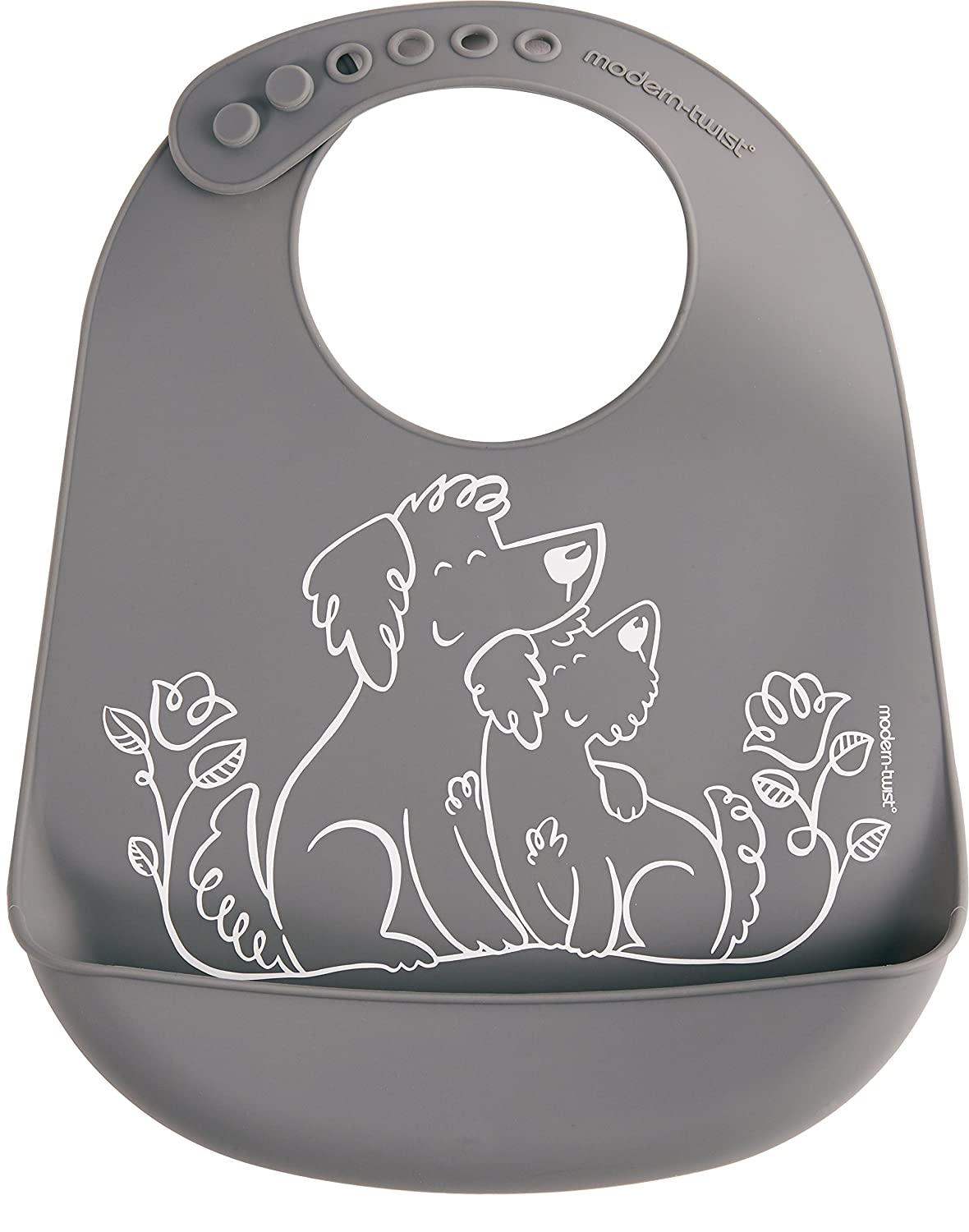 modern-twist Bucket Bib 100% plastic free silicone waterproof, adjustable, dishwasher safe, Bucket Bib, Gray Puppy Love