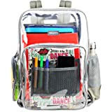 Large Clear Backpack Heavy Duty Durable Military Nylon Clear Bookbags School Work Adults (Large, Grey)