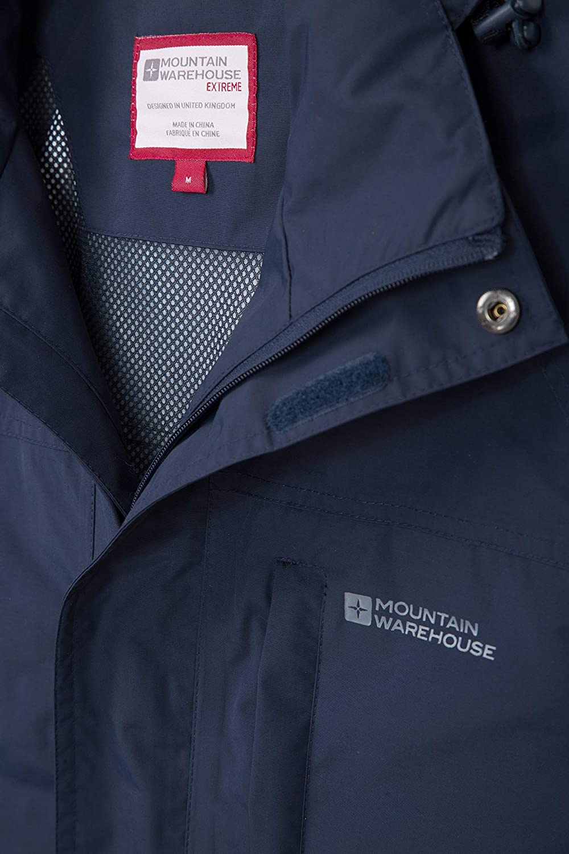Mountain Warehouse Glacier Extreme Herren Lange Wasserdichte atmungsaktive Jacke mit Kapuze Anorak Regenmantel Freizeit Sport Wander Walking Camping