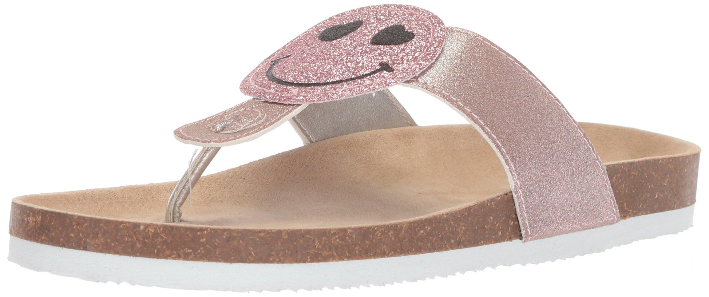 The Children's Place Girls' BG Smile Luna Flat Sandal, Pink, Youth 1 Medium US Big Kid