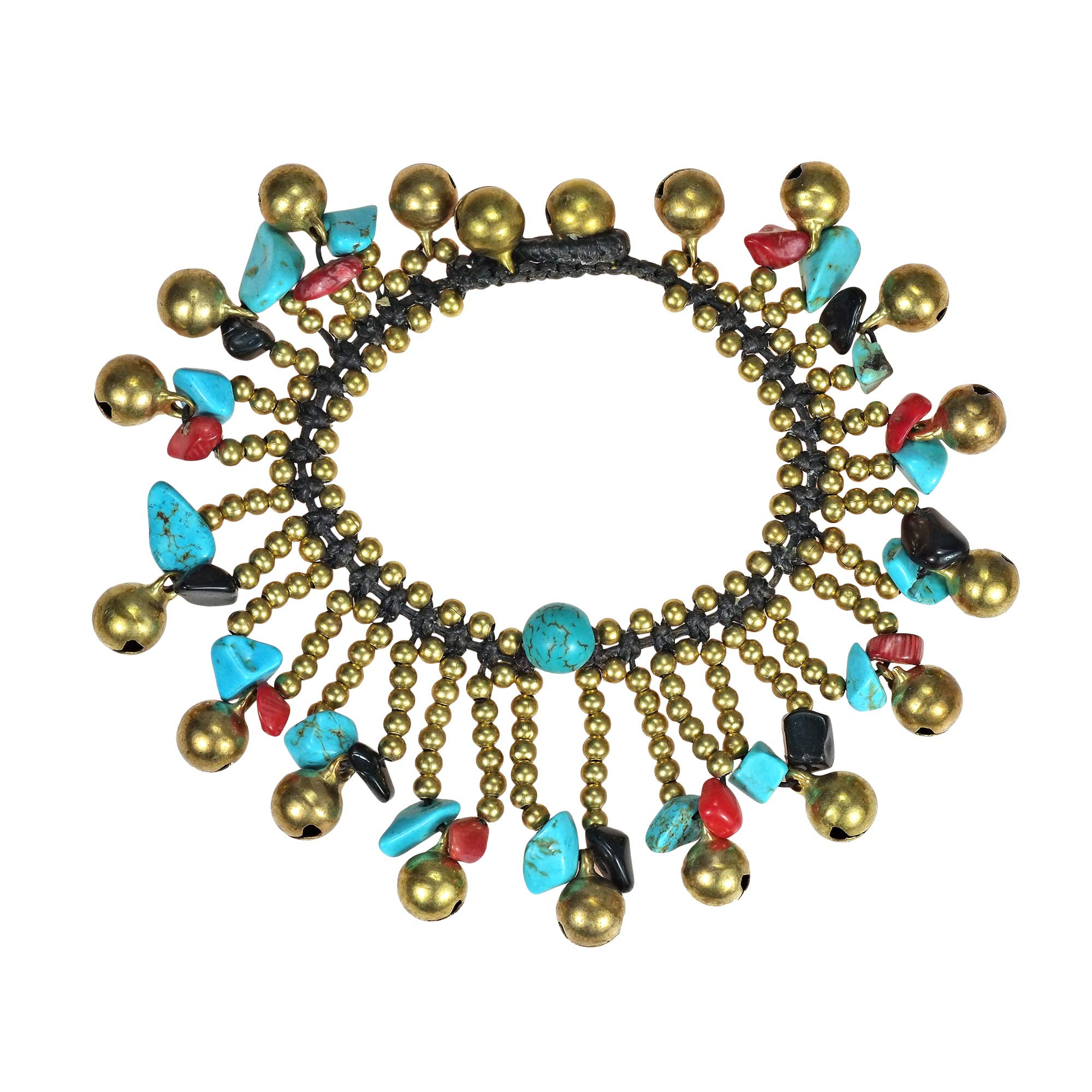AeraVida Tribal Dancer Mixed Material Jingle Bell Link Bracelet